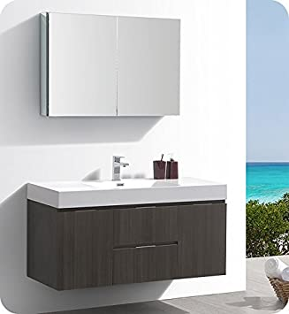 Fresca Valencia Gray Oak Wall Hung Modern Bathroom Vanity W - Bathroom vanity and medicine cabinet