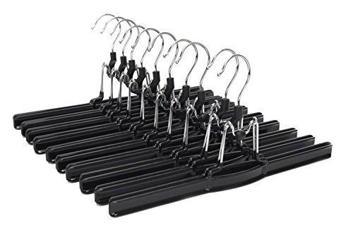 JS HANGER Non-slip Solid Metal Slack Hanger with Black Friction for Pants and Skirts, 10-Pack by JS HANGER
