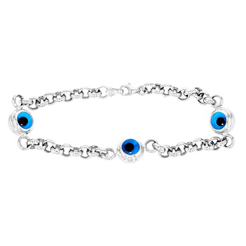 Eye 14k Solid Gold Bracelet - JewelryAmerica Solid 14k White Gold Blue Evil Eye Chain Link Bracelet, 8