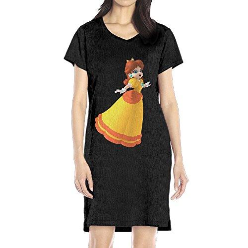 Women's Daisy Princess V-neck Short Sleeve Casual T-Shirt Dress Black L (Great Gatsby Daisy Dress)