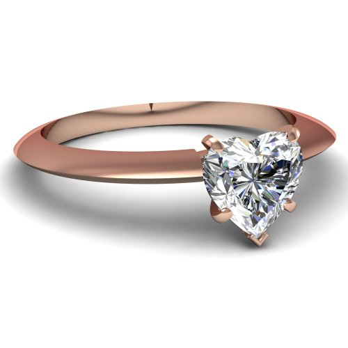(14K Rose Gold Solitaire Diamond Engagement Ring Heart Cut (I Color VS1 Clarity 0.5 ctw) - Size 7)