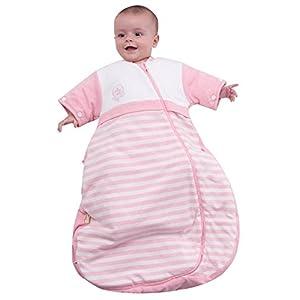 OuYun Baby Organic Sleeping Bag Detachable Sleeve Wearable Blanket,Blue,150g Filling for 50-68℉