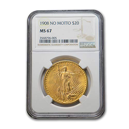 - 1908 $20 St. Gaudens Gold Double Eagle MS-67 NGC (No Motto) G$20 MS-67 NGC