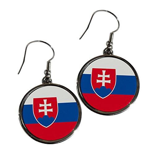 Premium Alloy Earrings - Flag of Slovakia (Slovak) - Round - Svk Slovakia
