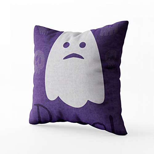Capsceoll Halloween Greetings Ghost Character Sofa Throw Pillows Case 20x20 Pillow Covers,Home Decoration Pillow Cases Zippered Covers Cushion for Sofa Couch