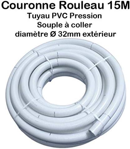 Couronne Rouleau 15M Tuyau PVC Pression Souple /à coller /Ø 32mm diam/ètre//Bassins et Piscines