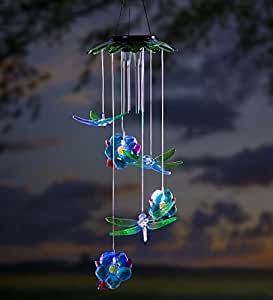 Amazon Com Solar Dragonflies Mobile With Wind Chime