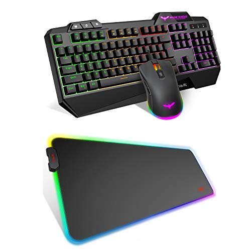Havit Keyboard Rainbow Backlit Wired Gaming Keyboard Mouse Combo and RGB Mouse Pad Large
