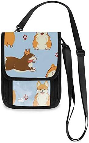 トラベルウォレット ミニ ネックポーチトラベルポーチ ポータブル コーギー 犬柄 小さな財布 斜めのパッケージ 首ひも調節可能 ネックポーチ スキミング防止 男女兼用 トラベルポーチ カードケース