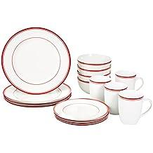 AmazonBasics 16-Piece Cafe Stripe Dinnerware Set, Service for 4 - Red