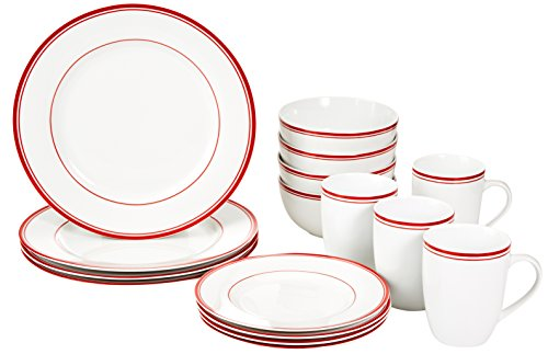 AmazonBasics 16-Piece Cafe Stripe Kitchen Dinnerware Set, Plates, Bowls, Mugs, Service for 4, Red ()