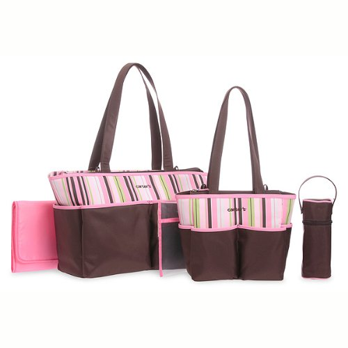 Carter's Five Piece Diaper Bag Set - Brown and Pink Stripe