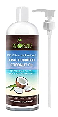 Fractionated Coconut Oil by Sky Organics 16oz- 100% Pure MCT Oil (Cocos Nucifera) with PUMP. Ideal as a Massage Oil & Aromatherapy. Carrier Oil Made in USA
