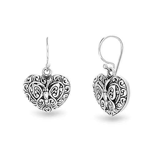 WILLOWBIRD Textured Filagree Butterfly Heart Dangle French Wire Earrings for Women In Oxidized 925 Sterling Silver (Heart) (Oxidized Earrings Butterfly)