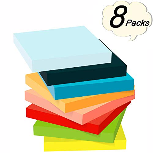 OPCOL Sticky Notes, 3 in x 3 in, 8 Pads/Pack, 100 Sheets/Pad, 8 Bright Neon Assorted Color Self-Stick Note Pads for Office, Home, School