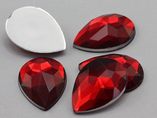 18x13mm Ruby H103 Flat Back Teardrop Acrylic Jewels High Quality Pro Grade - 30 Pieces
