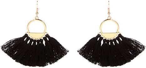 Bonnie Earring Tassel Bohemia Ethnic Fan Golden Handcrafted Dangle Hoop Earrings