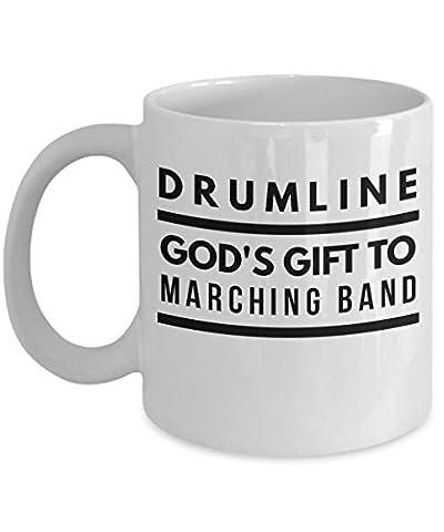 Drumline Mug - Drummer Gift - God's Gift To Marching Band - 11oz White Ceramic Coffee Cup (Marching Band Mug)