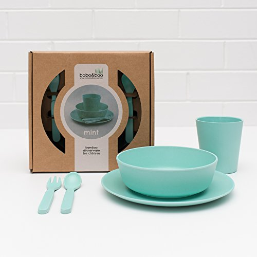 Bobo&Boo Bamboo 5 Piece Children's Dinnerware, Mint Green, Non Toxic & Eco Friendly Kids Mealtime Set for Healthy Infant Feeding, Great Gift for Baby Showers, Birthdays & Preschool Graduations
