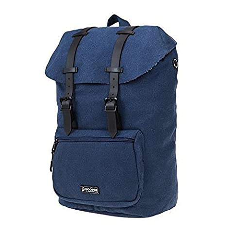 HOOPOE Urban-Ido, Navy Blue 16oz Waxed Canvas Outdoor Backpack with Padded Laptop Compartment & Earbud Hole, External Zip Pocket Water-Resistant, Lightweight, Men's Women's with Padding & (Coming To America Blu)