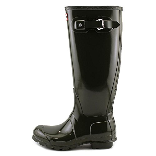 Hunter Damen Original Tall Regen Boot, Schwarz Glanz, 8 B (M) US Dunkle Olive