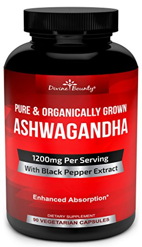 Organic Ashwagandha Capsules – 1200mg Ashwagandha Powder with Black Pepper for Enhanced Absorption – Ashwaganda Supplement for Anti Anxiety, Adrenal Support, Cortisol Manager, Stress & Anxiety Relief