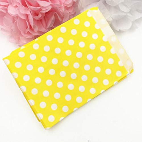 Zhongwenhj Excellent 25pcs/Pack Food Paper Bag Wedding Party Favor Candy Gift Bags Food Packaging Food Safety Oil Proof Paper Bag(None dot yellow)