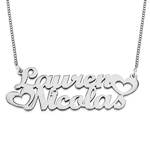Ouslier Personalized 925 Sterling Silver Double Names Necklace with Heart Custom Made with 2 Names (Double Name Necklace)