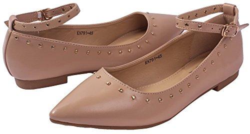 AgeeMi Shoes Damen Niets Spitze Zehe Ankle Strap Ballerinas Flache Schuhe Cremefarben (EuD88)