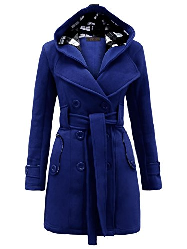 Envy Boutique Women's Military Button Hooded Fleece Belted Jacket Royal Blue 18