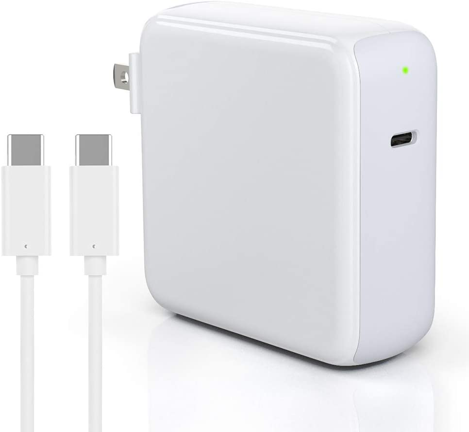 96W USB-C Power Adapter Charger for MacBook Pro 16/15/13 inch 2018/2019, MacBook Air 2020 New 13inch, iPad Pro 12.9 11 inch 2020/2018, Galaxy, Pixel, Thunderbolt 3 Port, LED, 6.6ft 5A USB-C to C Cord