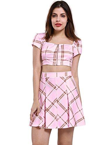 Fancyqube Women's Sexy High Waist Plaid Short Top Two Piece Mini Skirt Suit Pink S -