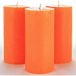 "Melt Candle Company Set of 3 Orange Pillar Candles 3"" x 6"" Unscented Weddings, Church, Home Decoration, Restaurants, Spa, Smokeless Cotton Wick - Rustic - Fragrance-Free"