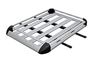 TMS ALUM-RFCARRIER-CH41 Cargo Luggage Rack (Aluminum Silver Roof Basket Car Roof Top with Crossbars)