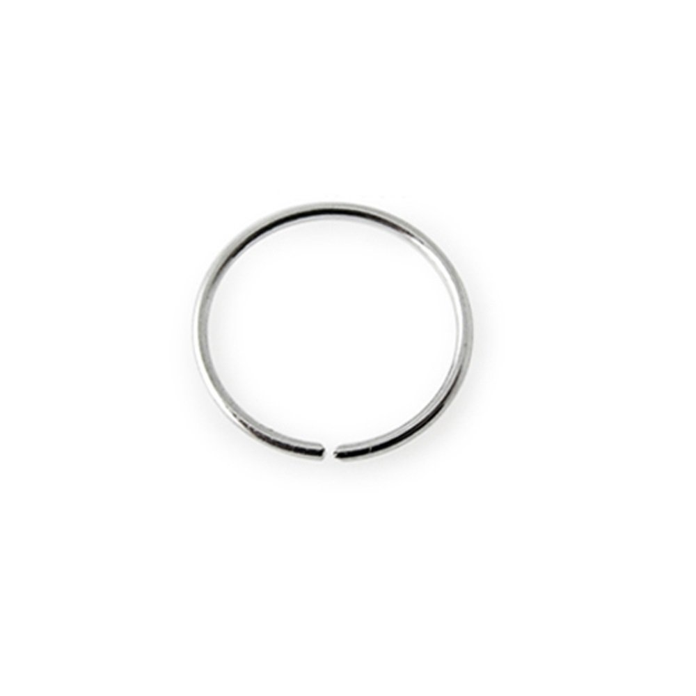 14K Solid White Gold 22Gx3/8 (0.6x10) Nose Ring Body Jewellery