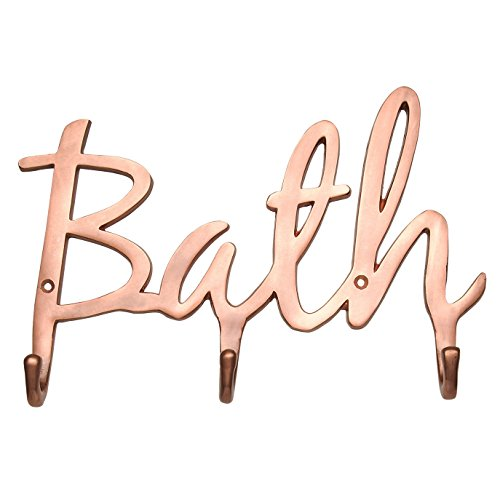 "Modern Wall Mounted ""Bath"" Bathroom Towel Hooks – Contemporary Bath Towel Holder 3 Sturdy Hooks – Wall Hooks Rack for Towels, Robes, Bathroom Accessories - Luxury Font Design, 3 Bath Towel Hooks ()"
