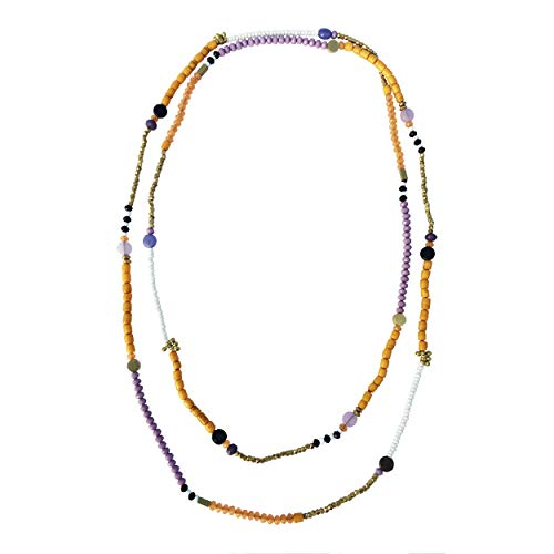 Brass and Glass Bead Extra Long Necklace - Multicolor - Everyday Jewelry Women Jewelry Girl Jewelry Ethnic Jewelry Versatile Jewelry Beaded Jewelry Summer Jewelry Gypsy Jewelry Tribal Jewelry Mom Gift