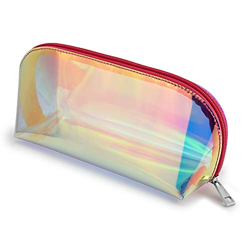 (Holographic Clear Makeup Bag, Veckle Cosmetic Bag Travel Iridescent Toiletry Pouch Hologram Handbag Make-up Storage Cases for Women Girls Shell Shape Pink Zippered)