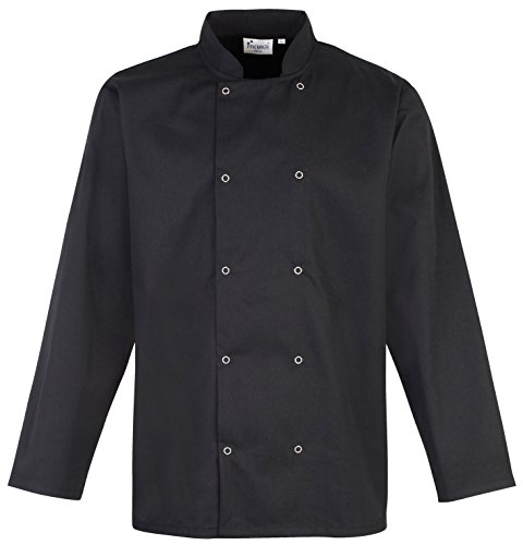 Premier Studded Front Long Sleeve Chefs Jacket - Black or White/X - Black - XL - Limited Snowboard Jacket