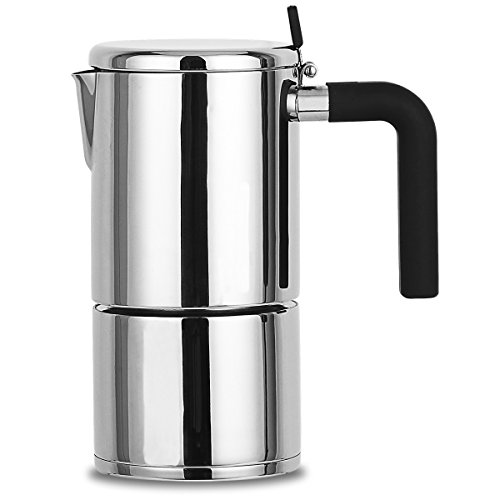 Stovetop Espresso Maker Stainless Steel 4 Cup XIHAO Silver Italian Moka Coffee Pot