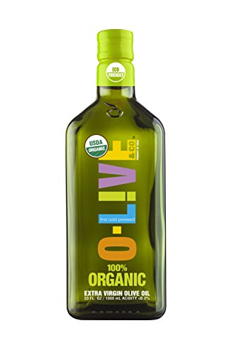 O-Live & Co. Premium 100% Organic Extra Virgin Olive Oil, Estate Grown & Bottled - Certified USDA - Kosher, 33 Fl Oz - Carbon Neutral Sustainable Process - Glass ()