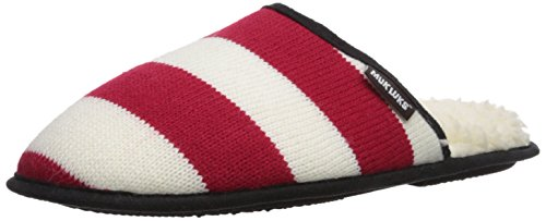 Muk Luks Men's Game Day Scuffs Slipper, Red, Small M US (Game Slipper)