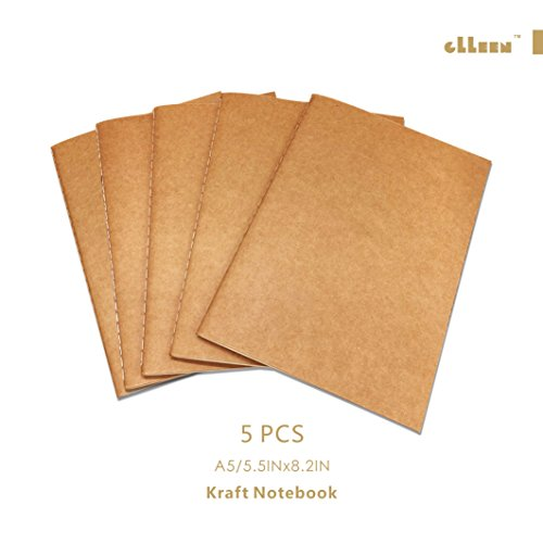 Brown Moleskin (Lined Travel Journal Set With 5 Notebook Journals For Travelers - Kraft Brown Soft Cover A5 Size, 60 Lined Pages/30 Sheets (Brown Cover))