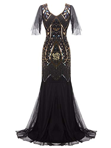 FAIRY COUPLE 1920s Floor Length Sequined V-Neck Flapper Party Maxi Dress Long Prom Cocktail(XL,Black Gold)