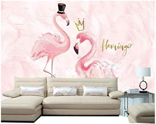 Ansyny 壁紙3D不織布シルク壁画動物フラミンゴピンクノルディックスタイル寝室の背景壁リビングルームプリンセスパウダー壁装材-360X220CM