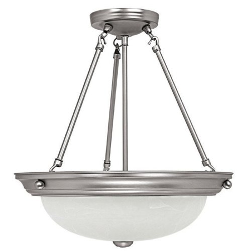 Capital Lighting 2718MN 3-Light Pendant, Matte Nickel Finish with Faux White Alabaster Glass
