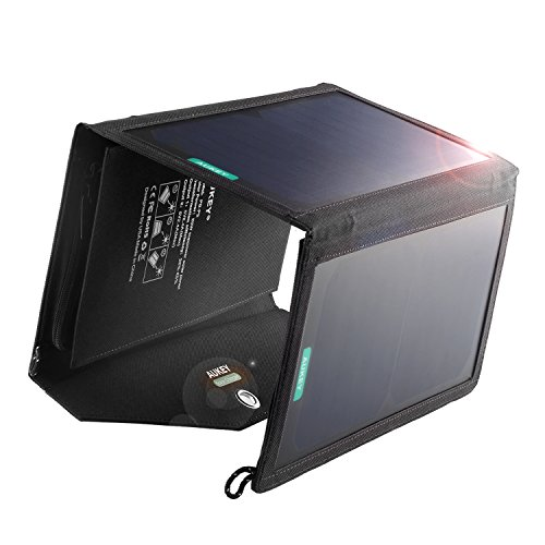 AUKEY 20W 2-Port Solar Charger with SunPower High Efficiency Solar Panels & AiPower Adaptive Charging Tech for iPhone, iPad, Samsung and More by AUKEY