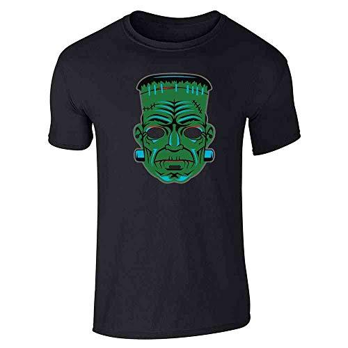 Frankenstein Retro Mask Halloween Costume Horror Black L Short Sleeve T-Shirt]()