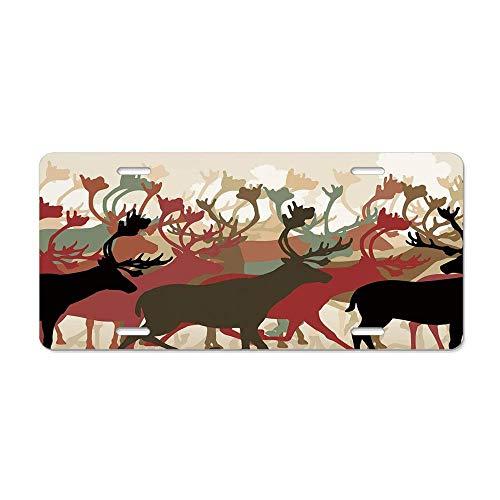 (Wonderhorsegala Antler Decor Reindeer Caribou Herd Migrating Colorful Silhouettes Wildlife Nature Theme Customized Aluminum Metal, Decorative Auto Car 6 X 12)
