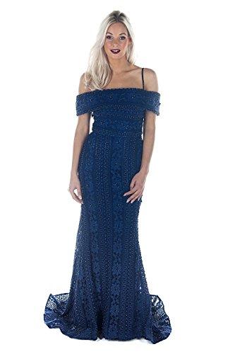 Jewelled Lace - Jessica Stuart DSJ551 beaded and jewelled lace Bardot dress (US2 UK6, Navy)